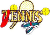 JKM Small Tennis Word with Accessories Applique (Iron On)