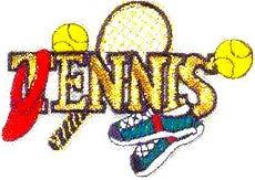 JKM Small Tennis Word with Accessories Applique (Stick On)