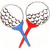JKM Red and Blue Golf Tees Applique (Stick On)