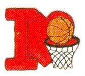 JKM Red I Love Basketball Applique (Stick On)