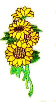 JKM Sunflowers Bunch on Stem Applique (Iron On)