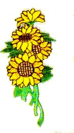 JKM Sunflowers Bunch on Stem Applique (Stick On)