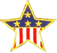 JKM Small Flag Star with Gold Edge Applique (Iron On)