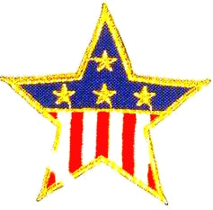 JKM Medium Flag Star with Gold Edge Applique (Iron On)