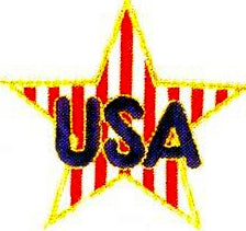 JKM Blue USA on Red and White Striped Star Applique (Stick On)