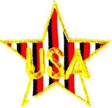 JKM Gold USA on Red & White and Blue Striped Star Applique (Stick On)