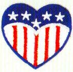 JKM Heart with Stars and Stripes Applique (Iron On)