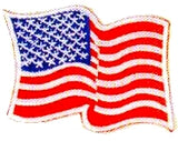 JKM Wavy American Flag Applique (Stick On)