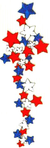 JKM Red & White and Blue Stars Streamer Applique (Stick On)