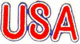JKM Red USA Letters with Blue and White Border Applique (Iron On)