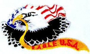JKM Eagle with Eagle USA Ribbon Applique (Stick On)