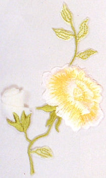 JKM White Rosebud with Blooming Flower Applique (Stick On)