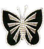 JKM Black/Silver Butterfly Front Applique (Stick On)