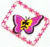 JKM Hot Pink Butterfly in Frame Applique (Iron On)