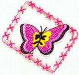 JKM Hot Pink Butterfly in Frame Applique (Stick On)