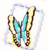JKM Turquoise Butterfly in Frame Applique (Stick On)