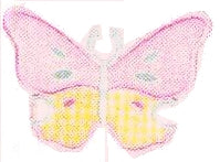 JKM Pink/Yellow Pastel Butterfly Applique (Stick On)