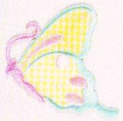 JKM Yellow/Aqua/Pink Side View Butterfly Applique (Stick On)