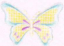 JKM Aqua/Yellow/Pink Pastel Butterfly Applique (Iron On)