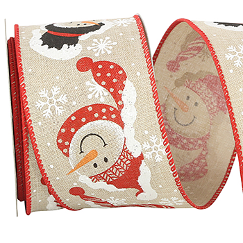JKM Snowman Friendly Face Ribbon Wire Edge