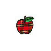 JKM Large Plaid Apple Applique Stick On