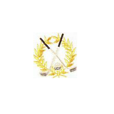 JKM Gold Wreath with Silver Clubs and Silver Ball Applique Stick On