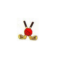 JKM Red Golf Ball with Black/Gold Golf Clubs Applique Iron On