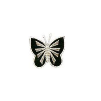 JKM Black/Silver Butterfly Front Applique Stick On