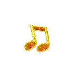 JKM Small Gold Music Notes Applique Iron On