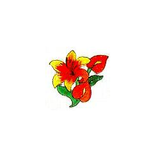 JKM Orange/Red Flower Applique Stick On