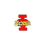JKM Red I Love Soccer Applique Stick On