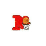 JKM Red I Love Basketball Applique Stick On