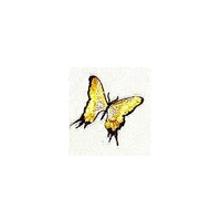 JKM Yellow/Black/Silver Butterfly Applique Stick On