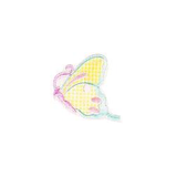 JKM Yellow/Aqua/Pink Side View Butterfly Applique Stick On