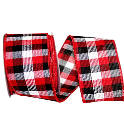 Cabin Natural Woolen Buffalo Check Ribbon Wire Edge