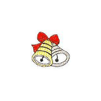 JKM Gold and Silver Bells with Red Bow Applique Iron On