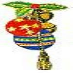 JKM Bells and Balls Ornament with Holly Applique Stick On