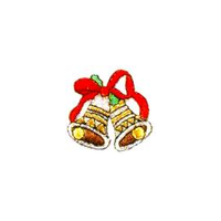 JKM Christmas Bells with Red Ribbon Applique Stick On