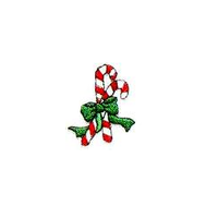 JKM Candy Canes with Green Bow Applique Stick On