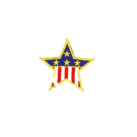 JKM Medium Flag Star with Gold Edge Applique Iron On