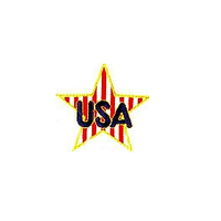 JKM Blue USA on Red and White Striped Star Applique Stick On
