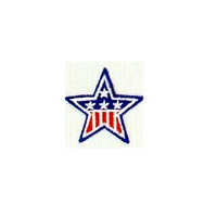 JKM Red & White and Blue Star Applique Stick On