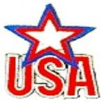 JKM USA with Blue & Red and White Star Applique (Stick On)