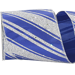 Royal Glitter Stripes Lame Ribbon Wire Edge