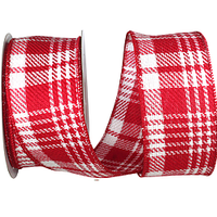 Twill Peppermint Plaid Ribbon Wire Edge