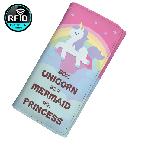 50% Unicorn 32% Mermaid 18% Princess Women's Clutch Purse Wallet