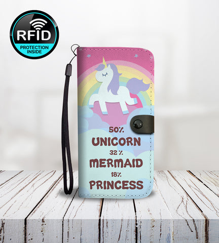 50% Unicorn 32% Mermaid 18% Princess Wallet Phone Case