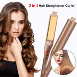 2-in-1 Hair Curling & Straightening Iron