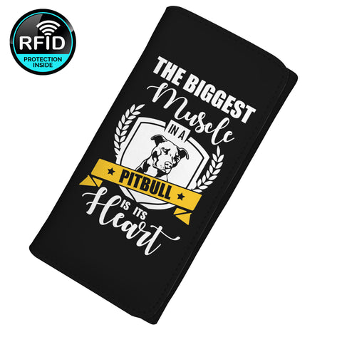 The Biggest Muscle In A Pitbull Is Its Heart Women's Clutch Purse Wallet
