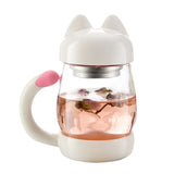 Cat Glass Mug with Coffee and Tea Filter 420ml